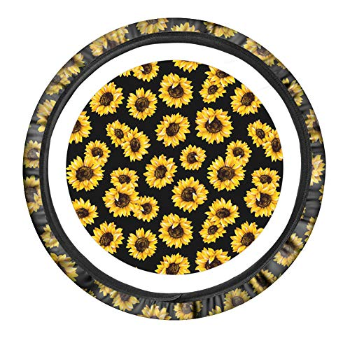 PZZ BEACH Sunflower Cute Car Steering Wheel Cover for Women,Universal Fit 15 Inch,Non-Slip Neoprene Steering Cover Durable Yellow Car Accessories
