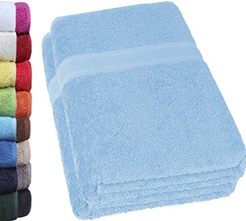 NatureMark 2er Pack DUSCHTÜCHER Premium Qualität 70x140cm DUSCHTUCH Dusch-Handtuch Doppelpack Farbe: Hell blau