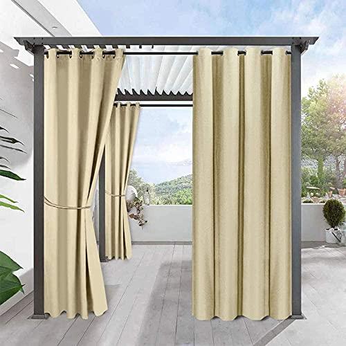 2 Paneles Cortinas al Aire Libre a Prueba de Agua Cortinas Opacas de Protección Solar para Jardín y Patio, para Decoración de Porche/Sombra de Gazebo/Persianas de Pérgola