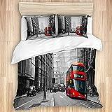 VINISATH Bedding Juego de Funda de Edredón,Autobús Rojo en Las Calles de Londres,Microfibra Funda de Nórdico y Fundas de Almohada-(Cama 220 x 240cm)