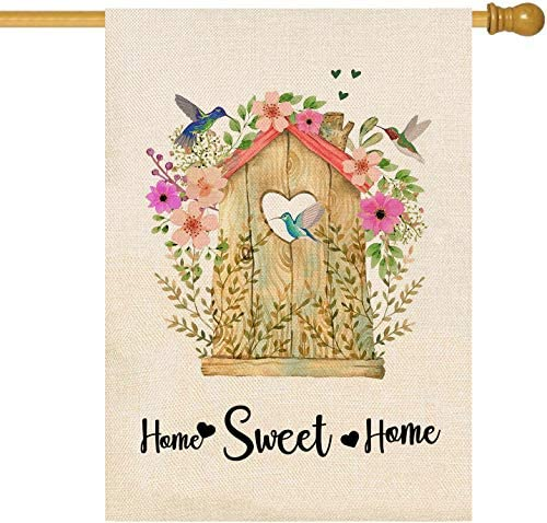 Amazon Com Ortigia Small Home Sweet Home Garden House Flag Vertical Double Sided Burlap Wooden Houses And Hummingbirds Yard Flag Flower Home Decor Spring And Summer Welcome Outdoor Decoration 28x40 Inch