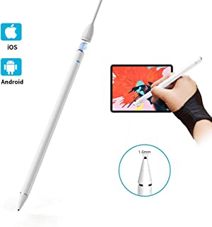 Active Stylus Pen for Touch Screens, 1.6mm Metal Fine Point High Sensitivity Digital Stylus Pen Compatiblewith iPad, iPhone, Android Tablet and Other Touch Screen Devices - White