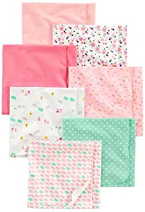 Simple Joys by Carter's Baby Girls paquete de 7 mantas de franela para recibir ,Rosado/Blanco ,Talla única