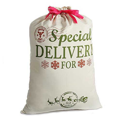 Bolsa de Navidad Santa Sacos para regalo Arpillera personalizada Extra Grande 19.7 'X 26.8' con cordón rojo para regalos de Navidad (grande)