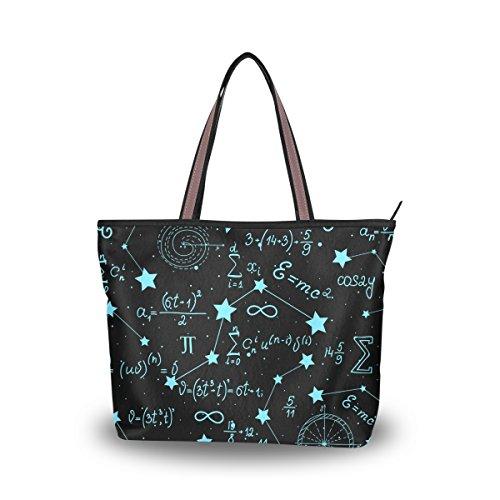 JSTEL Damen-Handtasche mit großem Henkel und mathematischen Figuren und Berechnungen Gr. M, C 02