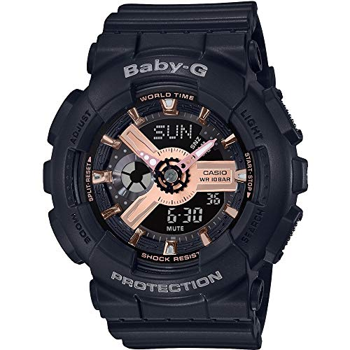 CASIO Damen Analog-Digital Quarz Uhr mit Harz Armband BA-110RG-1AER