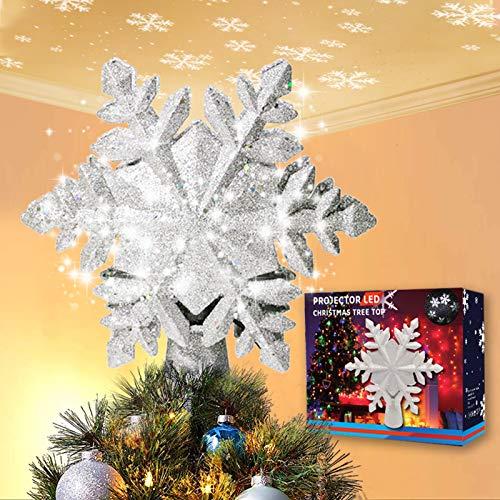 Acksonse Weihnachtsbaumspitze Stern Silber, LED Weihnachtsbaum Topper Schneeflocken Projektor, Christbaumspitze Beleuchtet für Dekoration