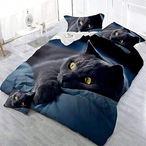 LIYIMING - Duvet Cover and Pillowcase Set (Polyester Microfiber, 3 Parts, Non-Wrinkle, Durable and Lightweight), Cat design, Black Color, Dark Green, 150 * 200cm zweiteiliges Set