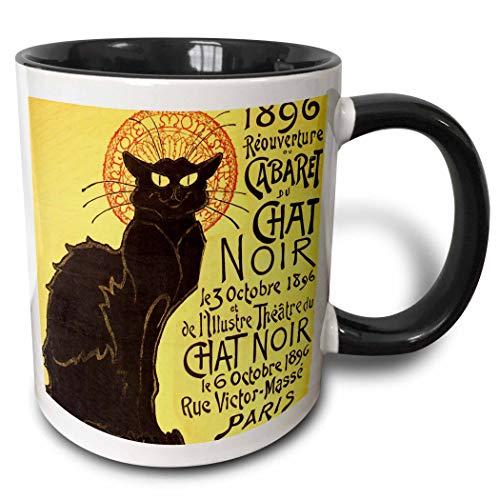 Taza de café de cerámica, vintage francés Chat Noir Cat Art, taza de dos tonos, 11 oz, negro/blanco