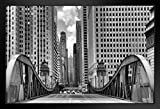 La Salle Street Bridge Chicago Illinois Black and White BW Photo Black Wood Framed Art Poster 20x14
