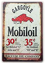 Gargoyle Mobiloil Vacuum Oil Company Vintage Metal Signs Tin Plaques Wall Art Poster for Garage Man Cave Beer Cafee Bar Pub Club Wall Decor