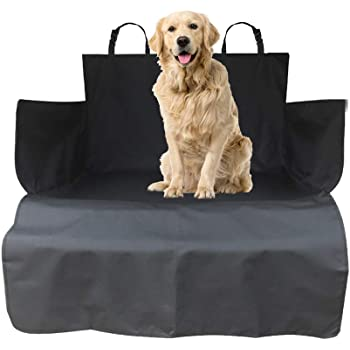 WeFine Car Boot Liner for Dogs Universal Waterproof Car Boot Cover with Bumper Flap Fits Cars, 4x4, Estate, Trucks, Hatchback, SUV (Long, Black)