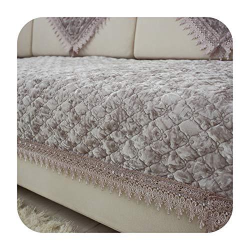 KASHINO Cojín de sofá de felpa antideslizante para verano europeo, cojín universal para cuatro estaciones, funda completa para sofá M-110x180 cm