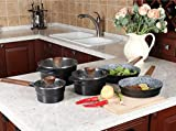 Kitchen Academy Juego de 12 ollas y sartenes antiadherentes de piedra de granito con 4 soportes de silicona para mango caliente, juego de inducción, apto para lavavajillas