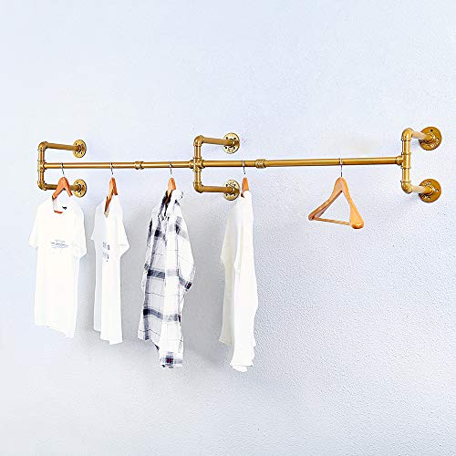 Industrial Pipe Clothing Rack Wall MountedVintage Retail Garment Rack Display Rack Cloths RackMetal Commercial Clothes Racks for Hanging ClothesIron Clothing Rod Laundry Room7086inGold
