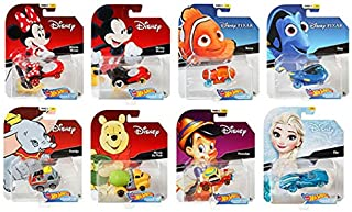 Hot Wheels 2019 Disney/Pixar Character Cars Case D, Set of 8 Collectible Die Cast Toy Cars Minnie Mouse, Mickey Mouse, Nemo, Dory, Dumbo, Winnie The Pooh, Pinocchio, Elsa