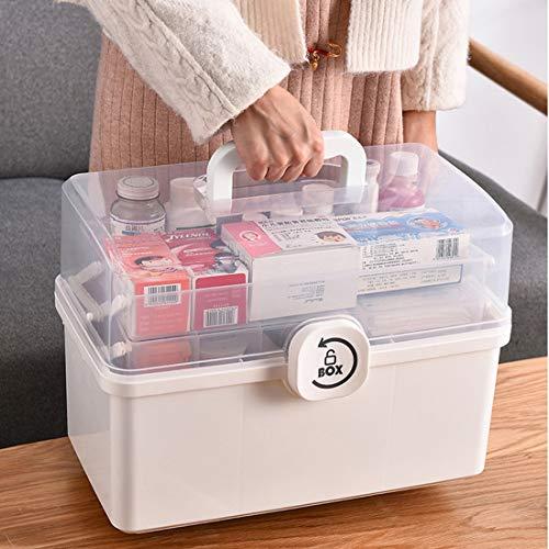 Dittzz Hausapotheke Box, Groß Medizinbox 3 Ebene Medizinkoffer Erste Hilfe Koffer Multifunktions Aufbewahrungsbox mit Tragegriff,34x19x22.5cm