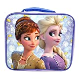 Disney Frozen 2 Lunch Box with Princesses Elsa and Anna - Soft Insulated Lunch Bag for Girls, Purple