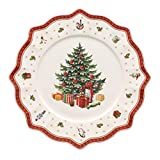 Villeroy & Boch Toy's Delight Assiette de présentation, 35 cm, Porcelaine Premium, Blanc/Rouge
