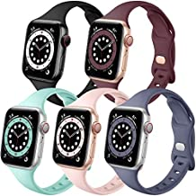 Muranne Compatible with Apple Watch Band 44mm 42mm iWatch SE & Series 6 5 4 3 2 1 for Women Men, Cute Soft Silicone 5 Pack Sport Watch Strap (Black/Mint Green/Wine Red/Sand Pink/Blue Gray42mm/44mm)