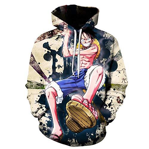 Sudadera con Capucha Anime, Moda 3D One Piece Patrón Impreso Hoodie, Unisex Tallas Grandes Desgastar Deportiva Sudadera Ligera,Beige,S