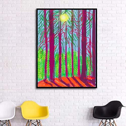 ganlanshu Pintura sin Marco Paisaje Pintura de Pared de Primavera imágenes para Sala Lienzo Paisaje país impresión Pintura Decorativa ZGQ5719 70X88cm