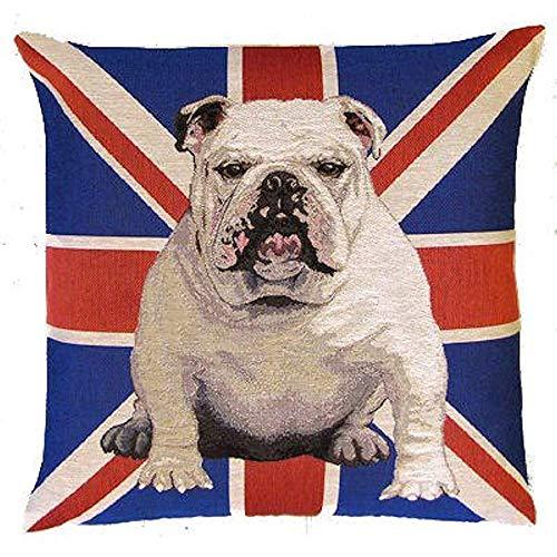Suo Long Fundas de Almohada Europea/Fundas de Almohada de Regalo/Funda de cojín Protector Retro Dog Bulldog inglés con Bandera