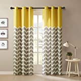 Intelligent Design Alex Chevron Curtains for Living, Modern Contemporary Grommet Room Darkening Bedroom, Geometric Window, 42X63, 2-Panel Pack, Yellow