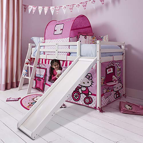 Noa and Nani - Midsleeper Cabin Bed with Slide and Hello Kitty Tent - (White)
