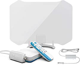 ANTOP ANTENNA AirTV Player with Dual-Tuner Local TV Adaptor and ANTOP AT-133B 50 Miles Amplified HDTV Antenna Bundles with Dual DVR Capable and Voice-Search-Compatible Remote