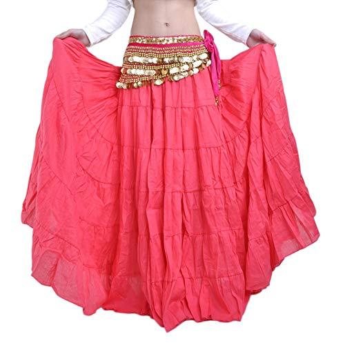 Danza del Vientre Faldas Largas Vestidos De Mujer Falda De Gypsy Tribal Sandía roja Un tamaño