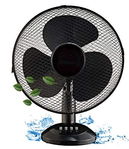 Tischventilator Ø31 cm 45 Watt   Ventilator   Rotation zuschaltbar   oszillierend   leiser Betrieb   Luftkühler   Windmaschine   geeignet für Büro, Schlafzimmer, Wohnzimmer