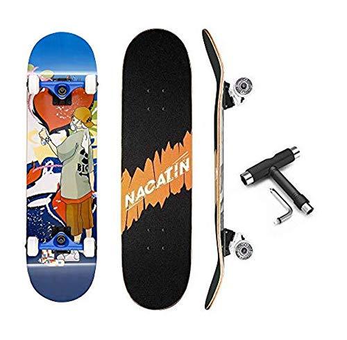 PUENTE Skateboard Completo per Bambini Ragazzi e Adulti con Strumento T Tool Cuscinetti a Sfera ABEC-9 92A Antiscivolo Liscio e Mute Rad Funboard per Principianti, GY-SZ, Blu