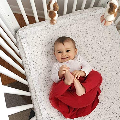 QuickZip Crib Extra Zip-On Sheet (SecureFit Wraparound Base Not Included) - Faster, Safer, Easier Baby Crib Sheets - Gray 100% Cotton - Fits All Standard Crib Mattresses