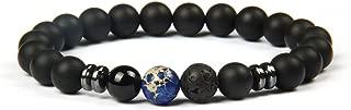 Pulsera de Perlas Chakra Fabricada de ónix y Piedra volcánica, Pulsera energética con Perla de Jaspe de Colores, Pulsera de Yoga para Hombres y Mujeres (Mármol Azul)