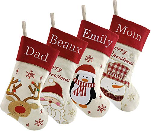 DearSun Set of 4, 18' Personalized Customization Christmas Stockings with Embroidery Technology, Santa,Snowman,Reindeer,Penguin Designs for Family Decor (Color 8) Free Update to Expedited