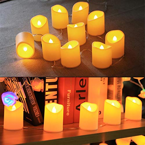 YXYQR 4.9ft Christmas LED Flameless Candles String Lights Battery Operated/USB Plug in Electric 10leds Flickering Candles Decorations for Home Wedding Party Table Fireplace (Extendable)