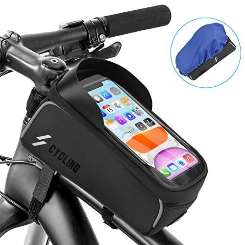 Osaloe Fahrrad Rahmentasche, Wasserdicht Fahrradtasche Handy Fahrradhalterung TPU Touchscreen Fahrradtasche Rahmen mit Kopfhörerloch Sonnenblende und Reflektierender für Smartphone bis 6,0 Zoll