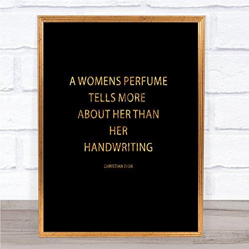 Christian Dior Woman's Parfum Quote Print Zwart & Goud Muurfoto Framed White Small