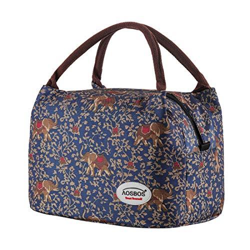 Kühltasche Klein Leicht Lunch Tasche Isoliertasche zur Arbeit Schule Faltbar Wasserdicht Reißverschluss 8,5L (Bohemia Elefant)