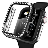 Recoppa Apple Watch Case with Screen Protector for Apple Watch 38mm Series 3/2/1, Bling Crystal Diamond Rhinestone Ultra-Thin Bumper Full Cover Protective Case for Women Girls iWatch Black