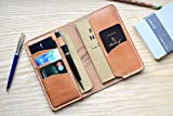 Passport and Field Notes wallet in Horween Essex Natural Leather | Cover Journal Notebook Vanguard Cahier sleeve