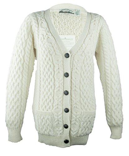 Irische Merinowolle Aran Knit Boyfriend Cardigan, Braun - Natural, M