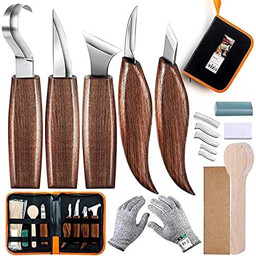 Herramientas para tallar madera Juego de cuchillos 5 en 1: incluye cuchillo de gancho, cuchillo para cortar, cuchillo para detalle, juego de 5 afiladores de cuchillos para tallar, como se mu
