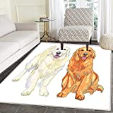 Golden Retriever small rug Carpet Smiling Pale and Red Gun Dog Breed Sitting and Staying Thoroughbred Floor Mat Rug Indoor/Front Door/Kitchen and Living Room/Bedroom Mats Rubber Carpe Non Slip