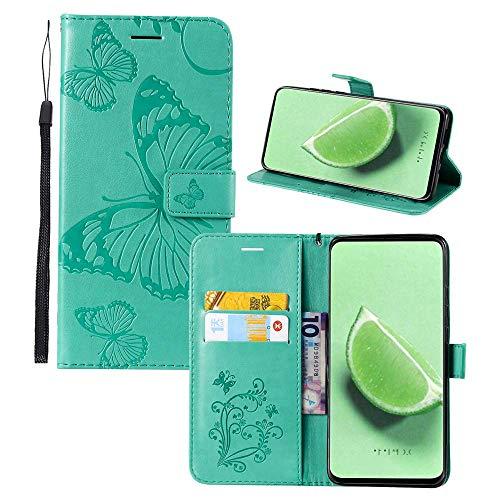 JZ Capa carteira com borboleta 3D em relevo para Motorola Moto G5S Plus Capa protetora para celular [magnética e alça de pulso] - Verde