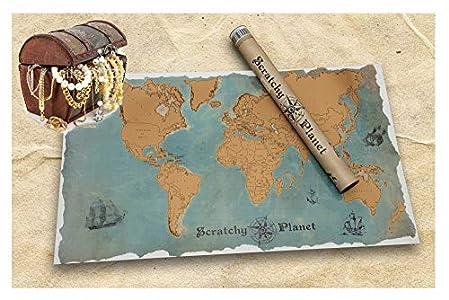 Scratchy Planet - mapamundi para rascar con un estilo vintage, atlas de rascar, Mapa del mundo para rascar, mapa del mundo para rascar XL, nombres de los países y ciudades auténticas