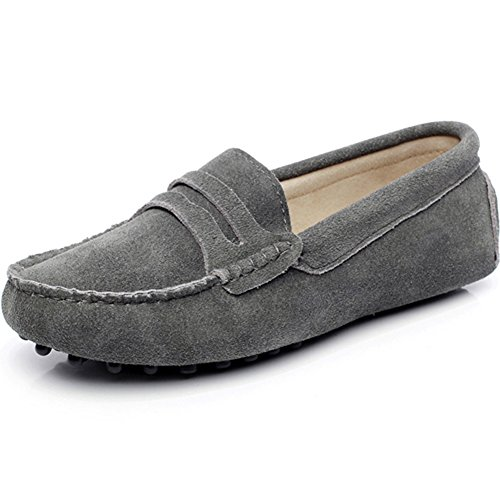 Jamron Damen Klassisch Wildleder Penny Loafers Gemütlich Handgefertigt Mokassins Slippers Grau 24208 EU43