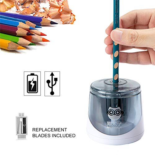 Electric Pencil Sharpener, Single Hole Battery or USB Operated Pencil Sharpener, Heavy Duty Automatic Pencil Sharpener With 2 Steel Blades for No. 2 and Colored Pencils for Artists, Students and Kids
