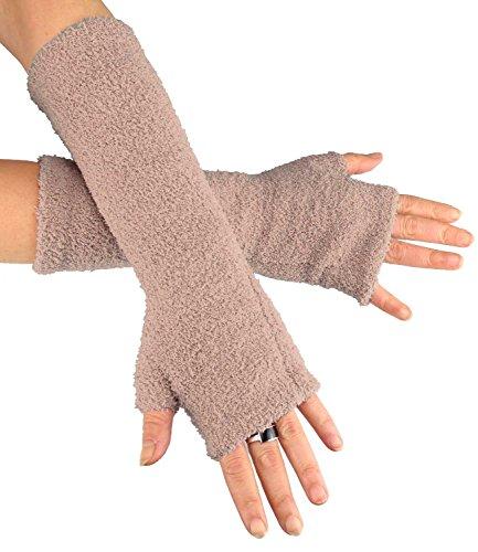 Caripe Fingerlose Armstulpen Damen Handschuhe Strick Stulpen lang, 11 (beige FLA new)
